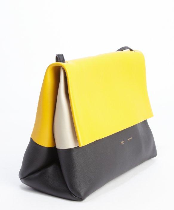 C¨¦line Sunflower, Black And Ecru Leather \u0026#39;All Soft\u0026#39; Shoulder Bag ...