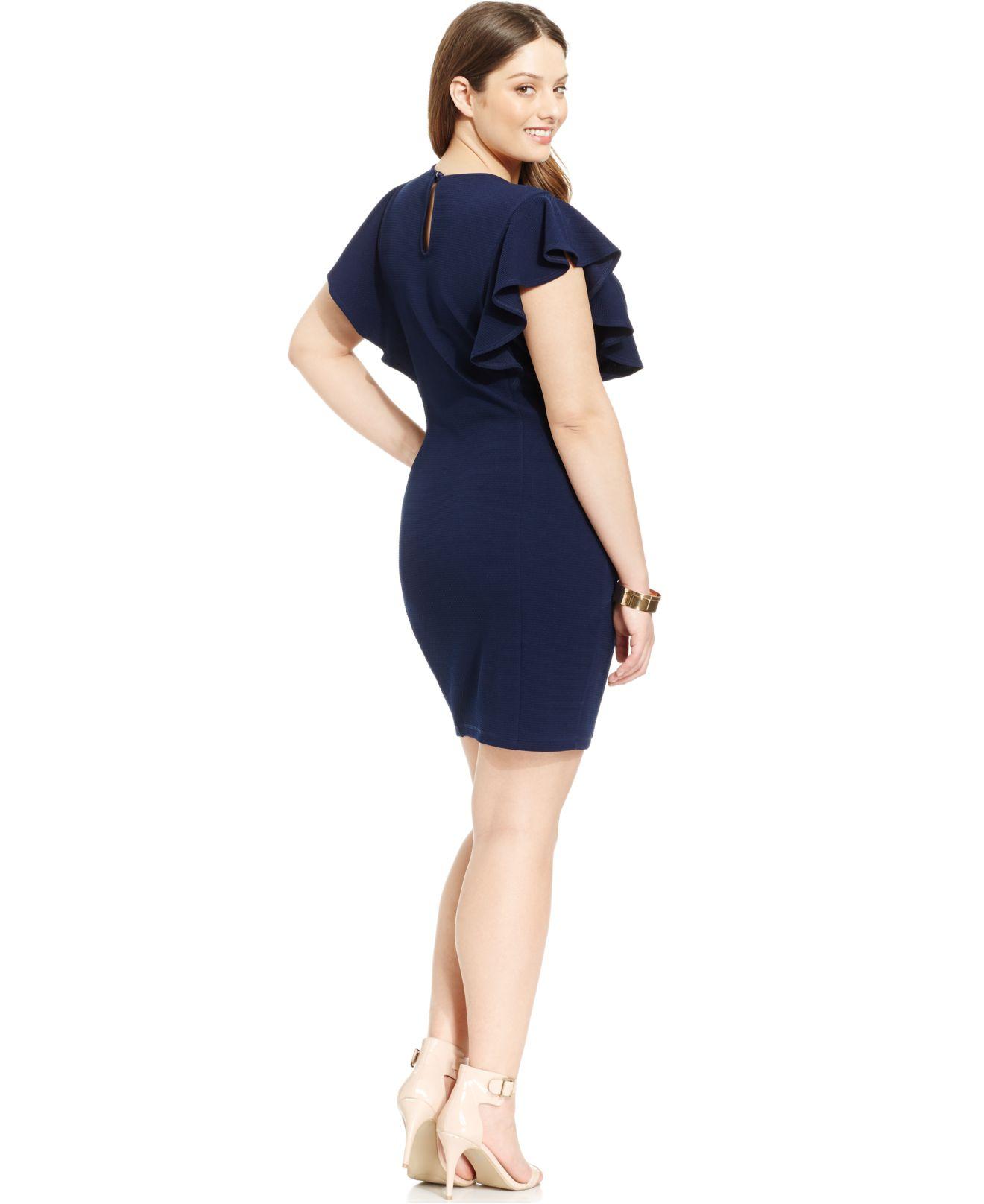 Soprano Plus Size Ruffled-Sleeve Sheath Dress in Blue | Lyst