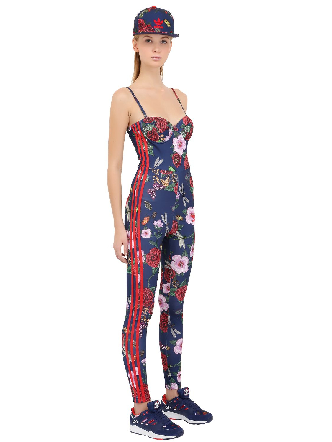 Excellent Adidas Originals Floral Print Jumpsuit In Blue  Lyst