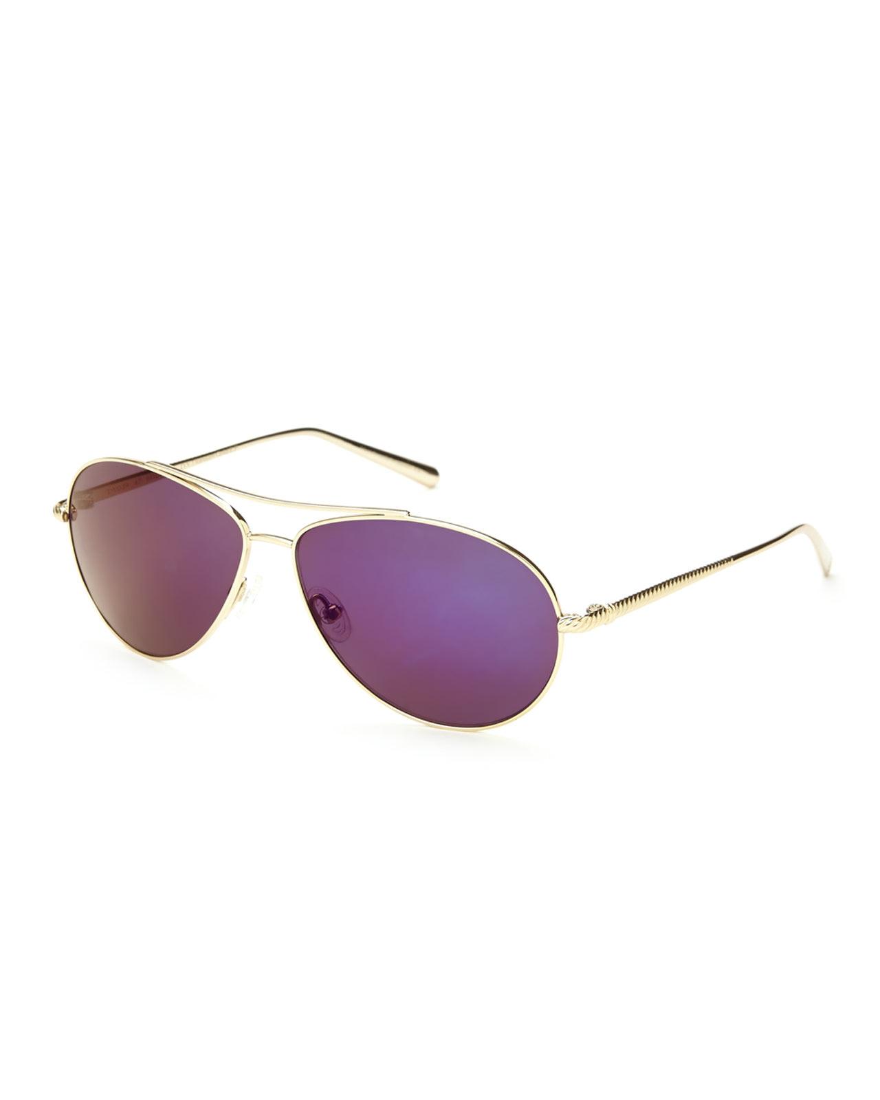 Purple Tinted Sunglasses  david yurman dy039 gold tone purple tinted aviator sunglasses in
