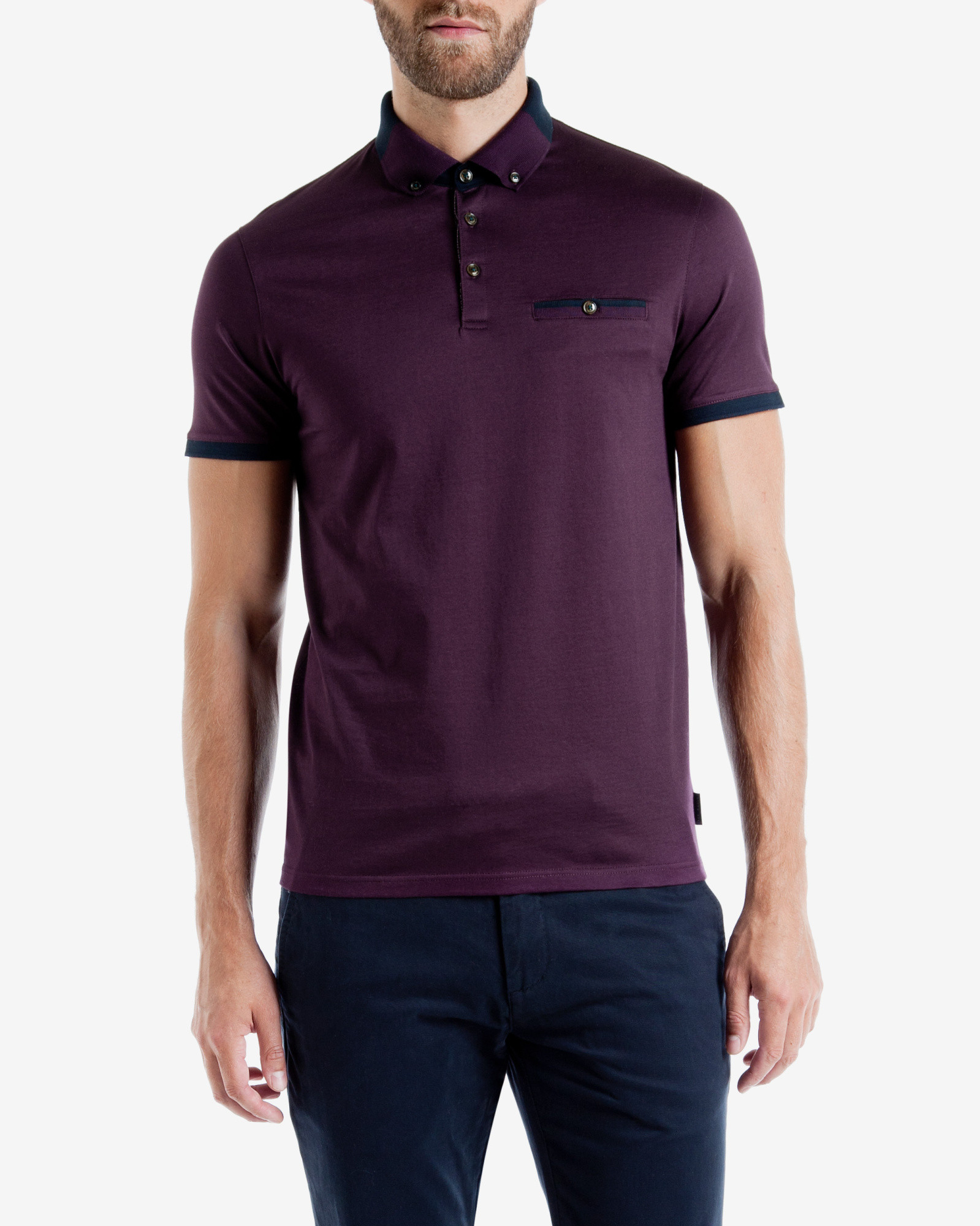 Lyst ted baker color block polo shirt in purple for men for Polo color block shirt