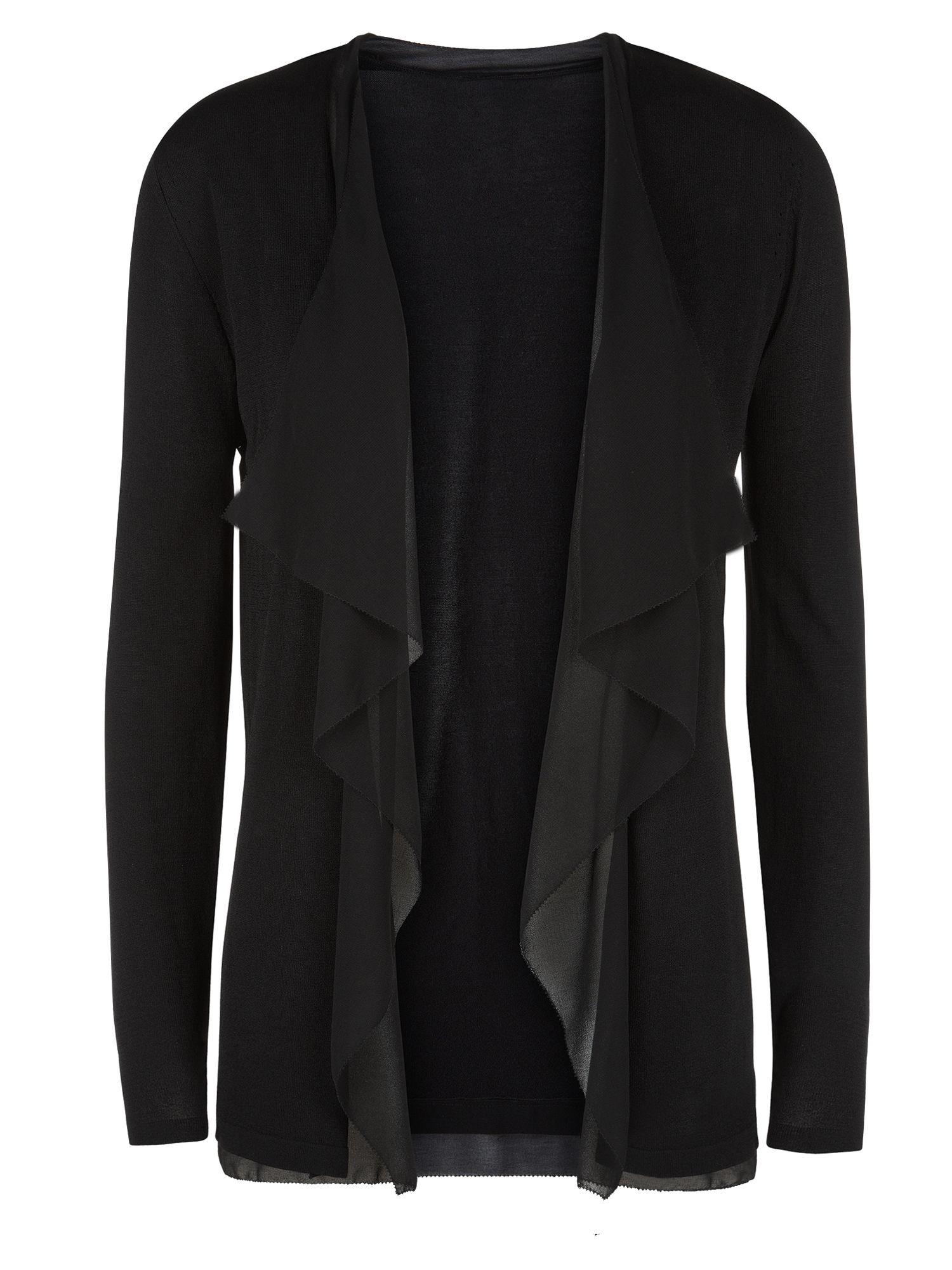 Jacques vert Chiffon Trim Waterfall Cardigan in Black | Lyst
