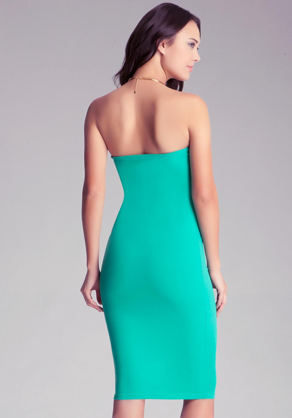 Lyst - Bebe Strapless Solid Midi Dress in Green