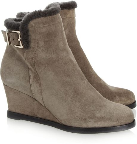 fendi shearlinglined suede wedge boots in brown lyst