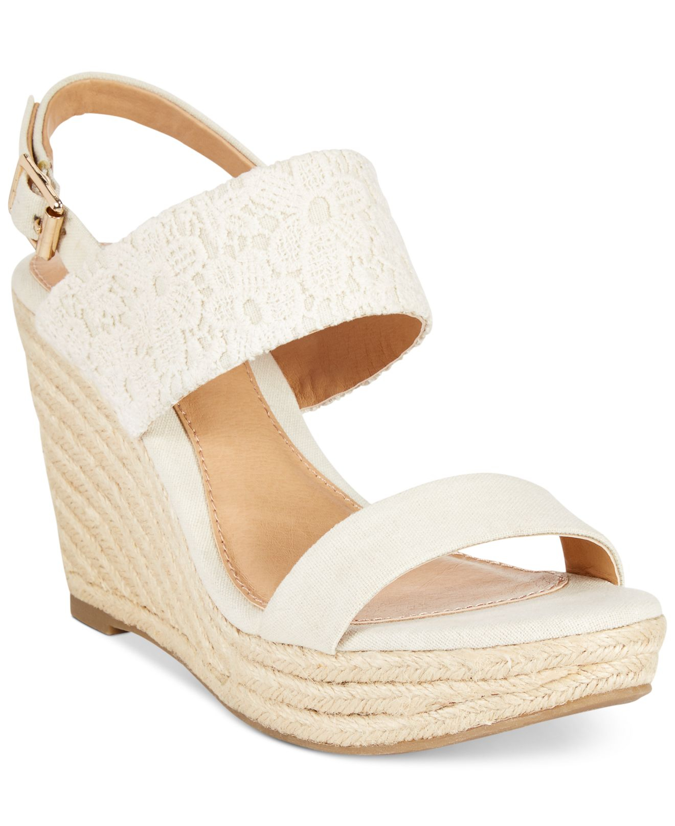 401f778356 Lyst - Report Kynsley Two-Piece Platform Wedge Sandals in Natural
