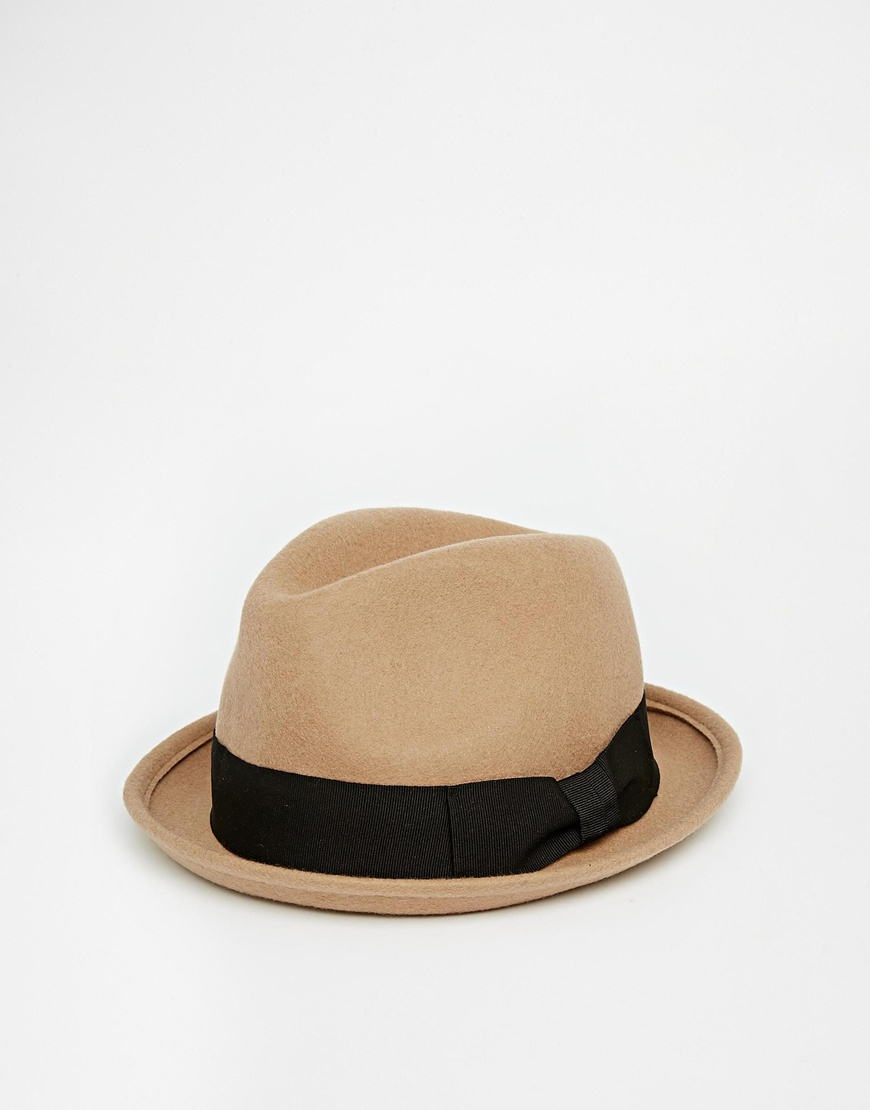 24fc2ac9889b3 ASOS Trilby Hat In Camel Felt in Brown for Men - Lyst