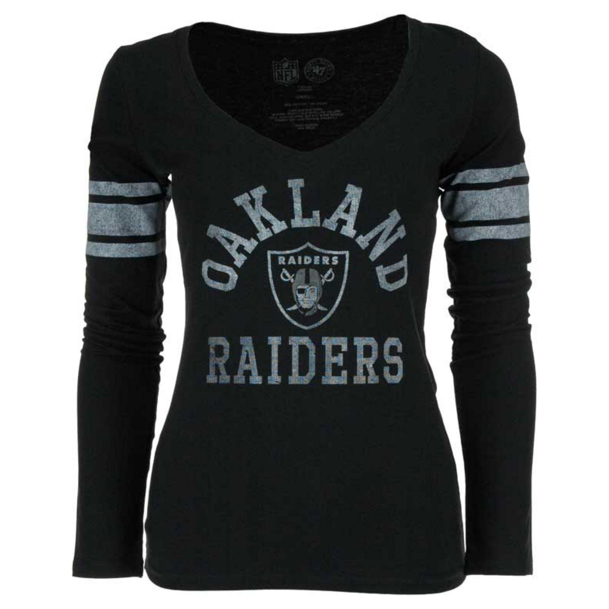 ca744899 47 Brand Womens Oakland Raiders Homerun Longsleeve Tshirt in Black ...