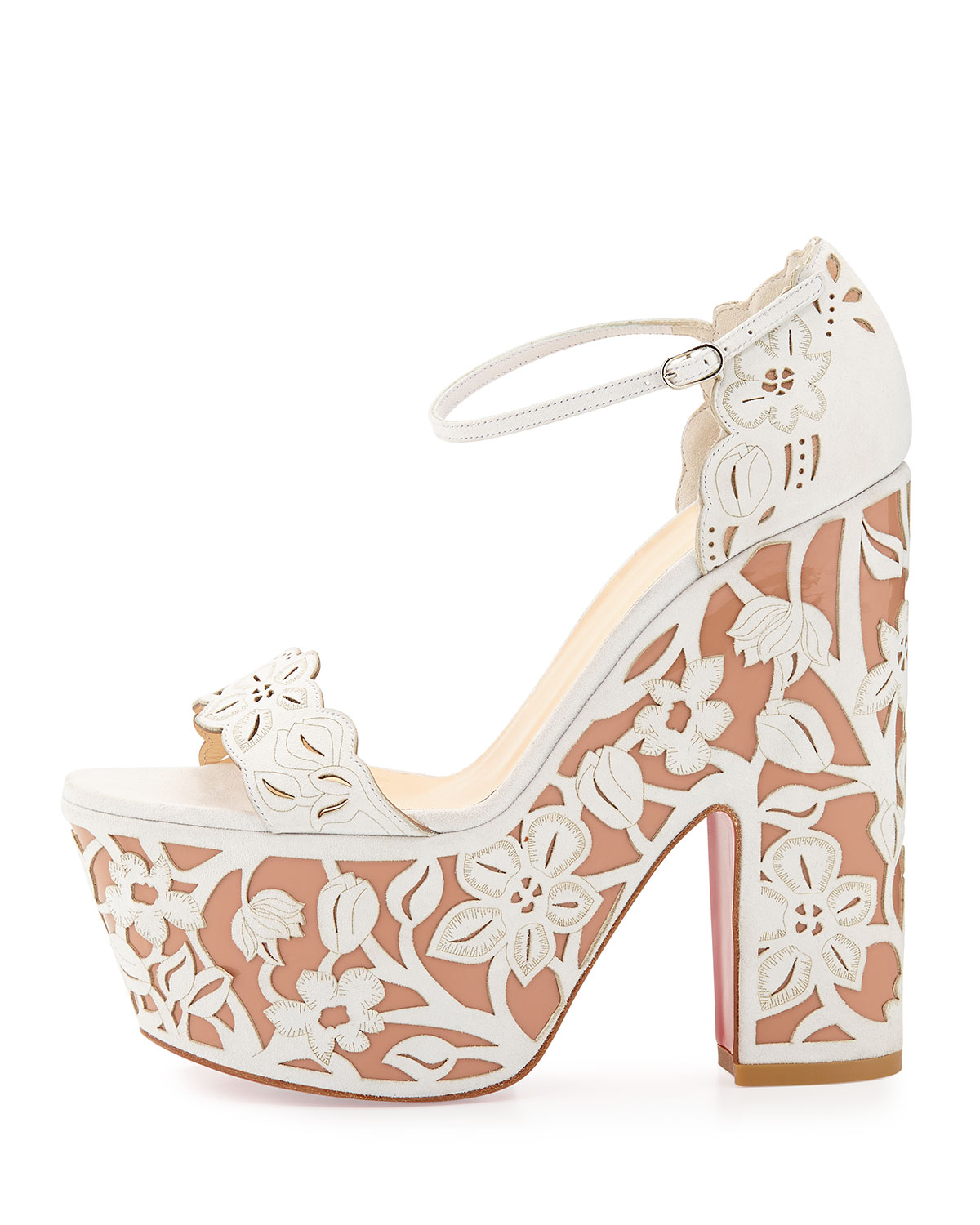 75bb472071a5 ... new zealand lyst christian louboutin houghton floral wedge red sole  sandal in 920fd 9d61f