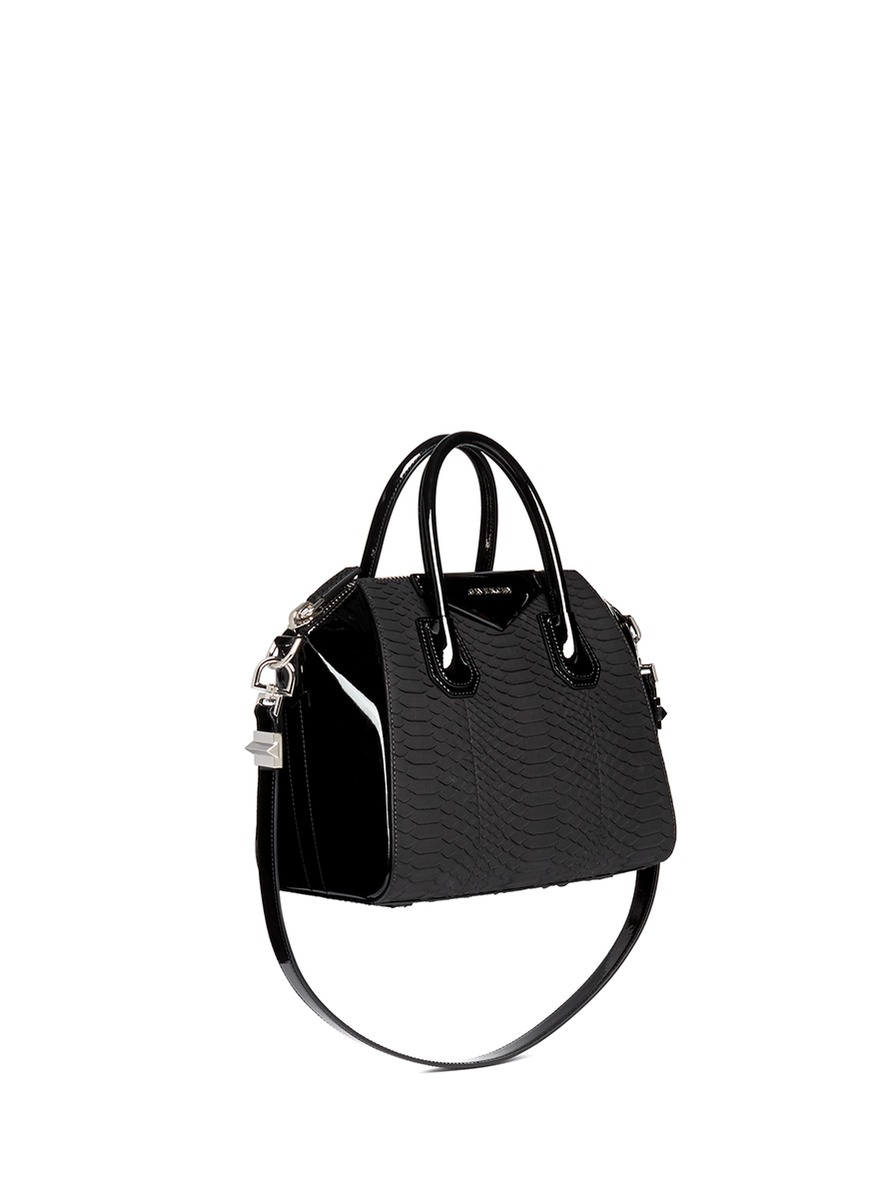 Lyst - Givenchy  antigona  Small Python Panel Patent Leather Bag in ... ba8cf9368792d