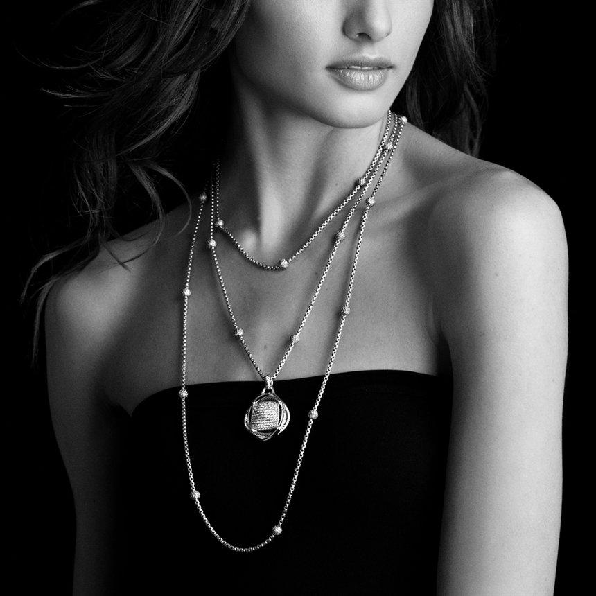 David Yurman Chain Necklace With Diamond Beads In Metallic