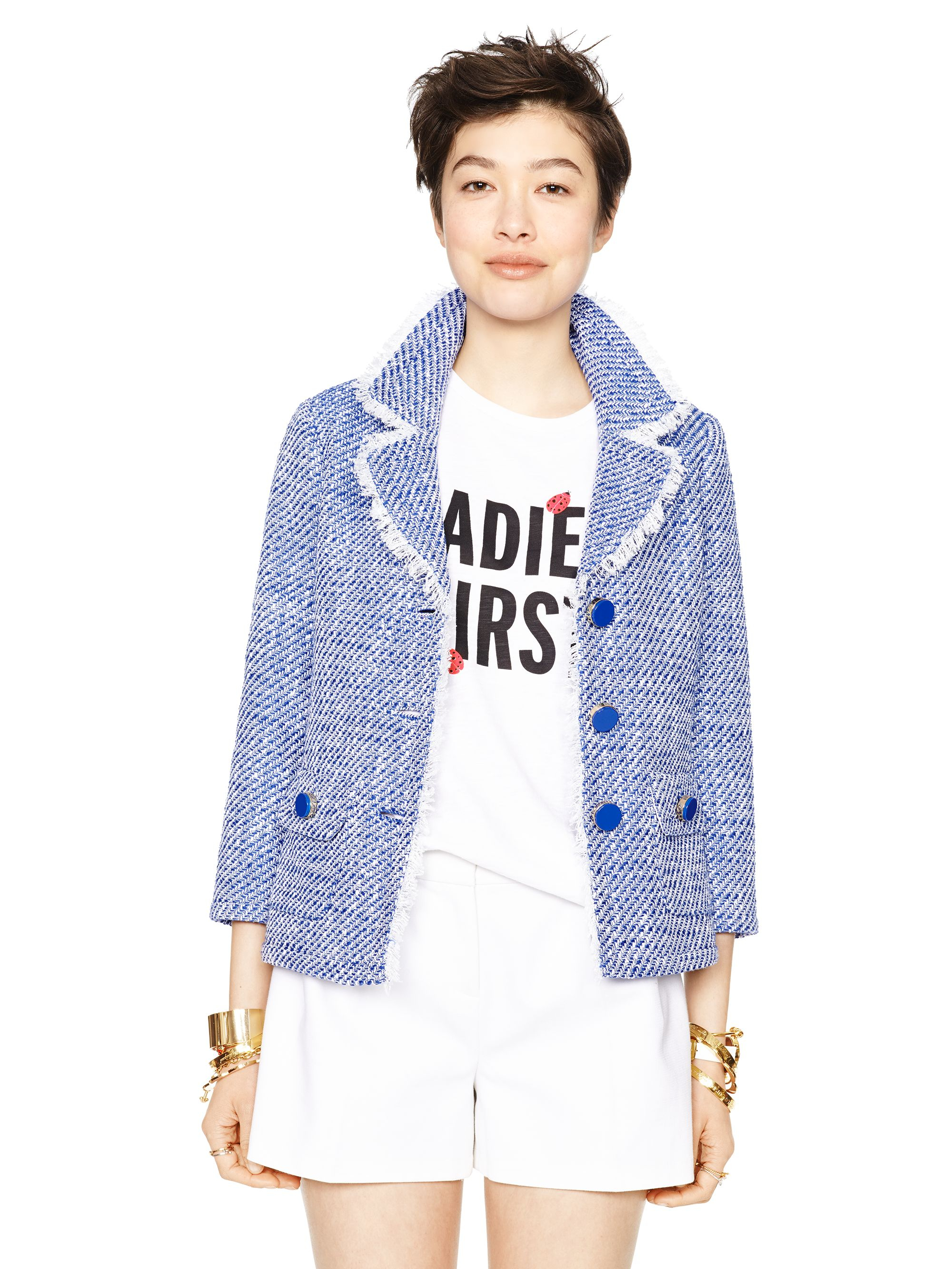Kate Spade New York Graphic Tweed Evonna Jacket In Blue Lyst