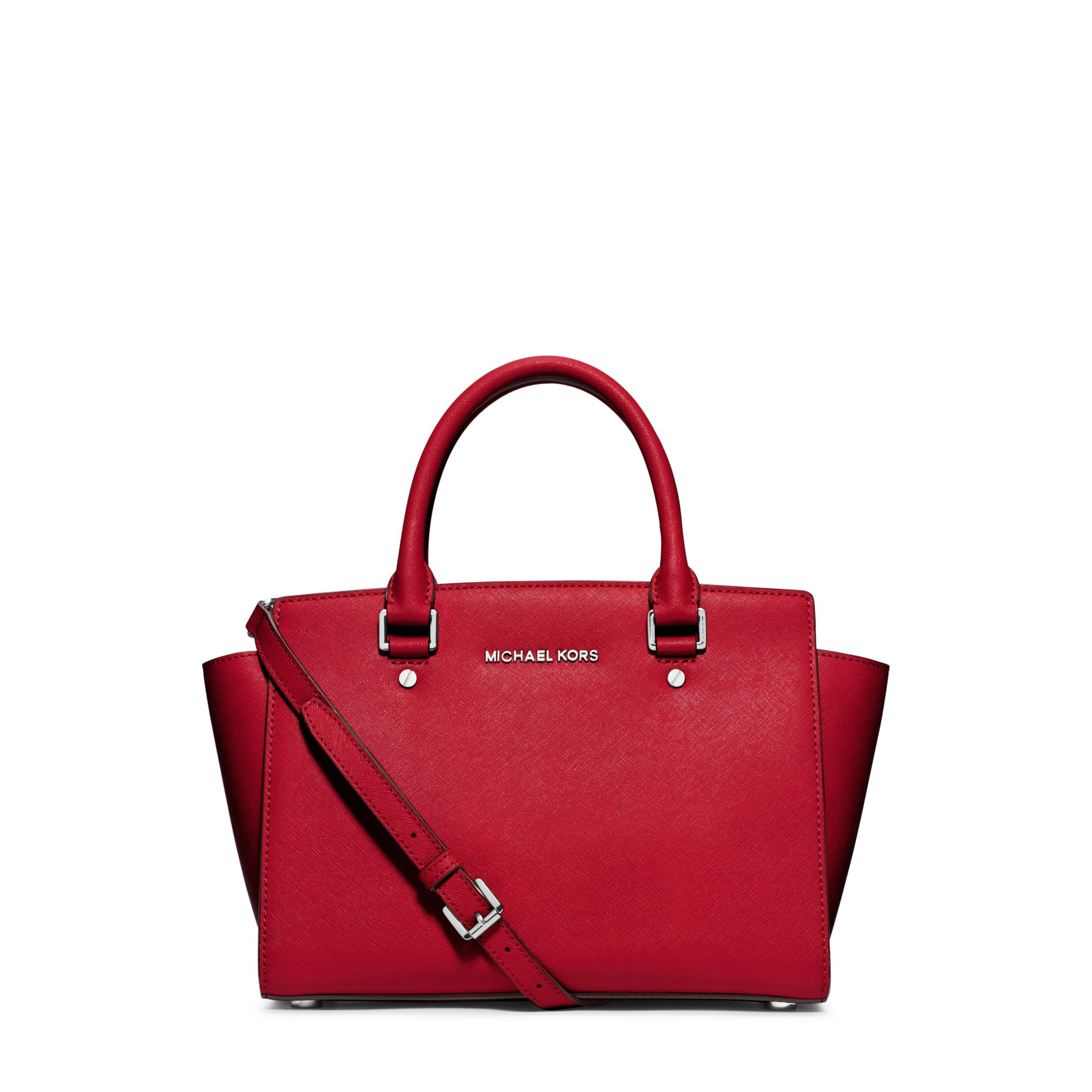 michael kors selma medium saffiano leather satchel in red chili lyst. Black Bedroom Furniture Sets. Home Design Ideas