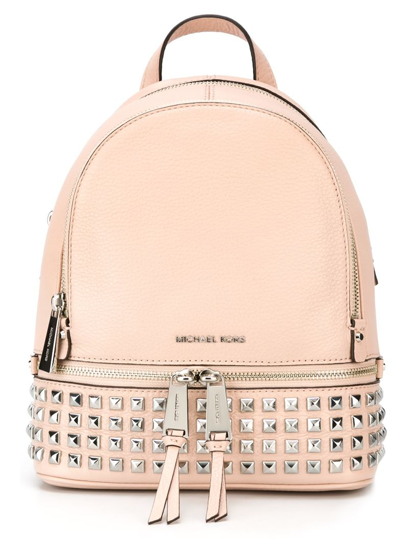 ba31022ac8d46b ... inexpensive michael michael kors rhea backpack in pink lyst 67d39 edc38