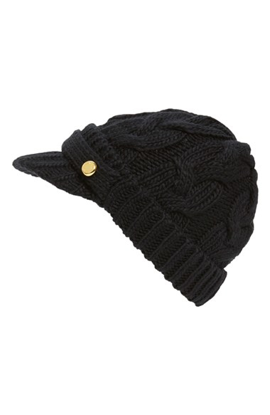02f0d686d3a ... sale lyst michael michael kors cable knit newsboy hat in black 6d2f5  9ee05