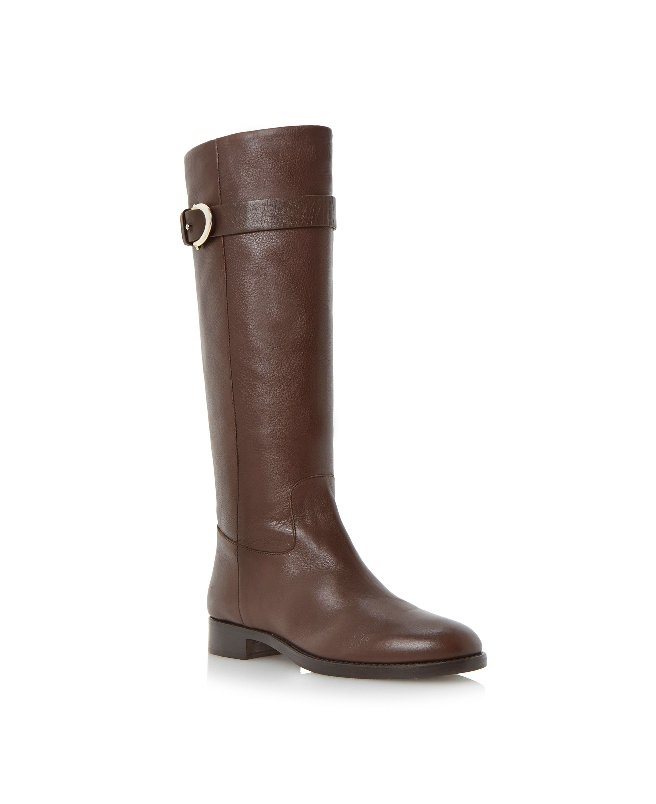 dune black tessie knee high buckle detail boots in brown