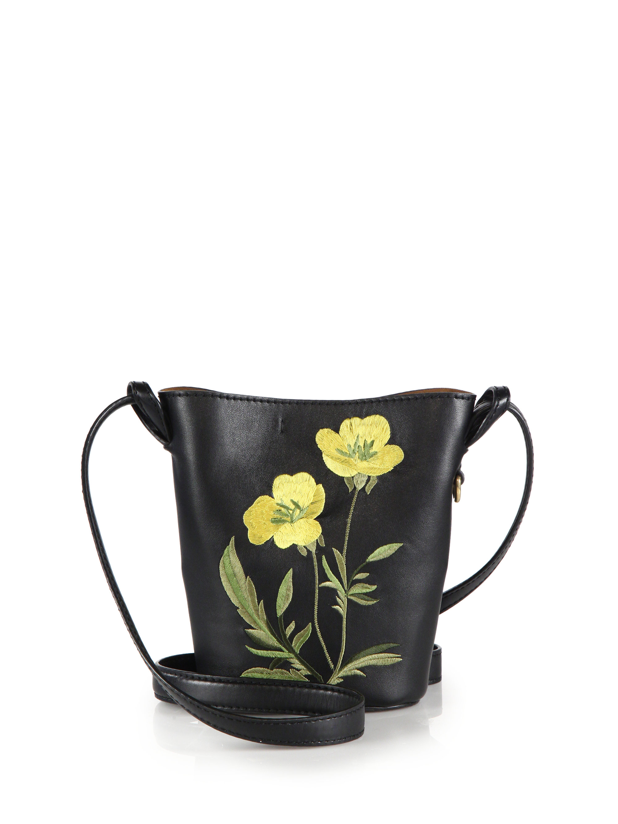 Lyst - Stella McCartney Small Faux Leather Floral-embroidered Bucket ... 5cd598a6bb1e5