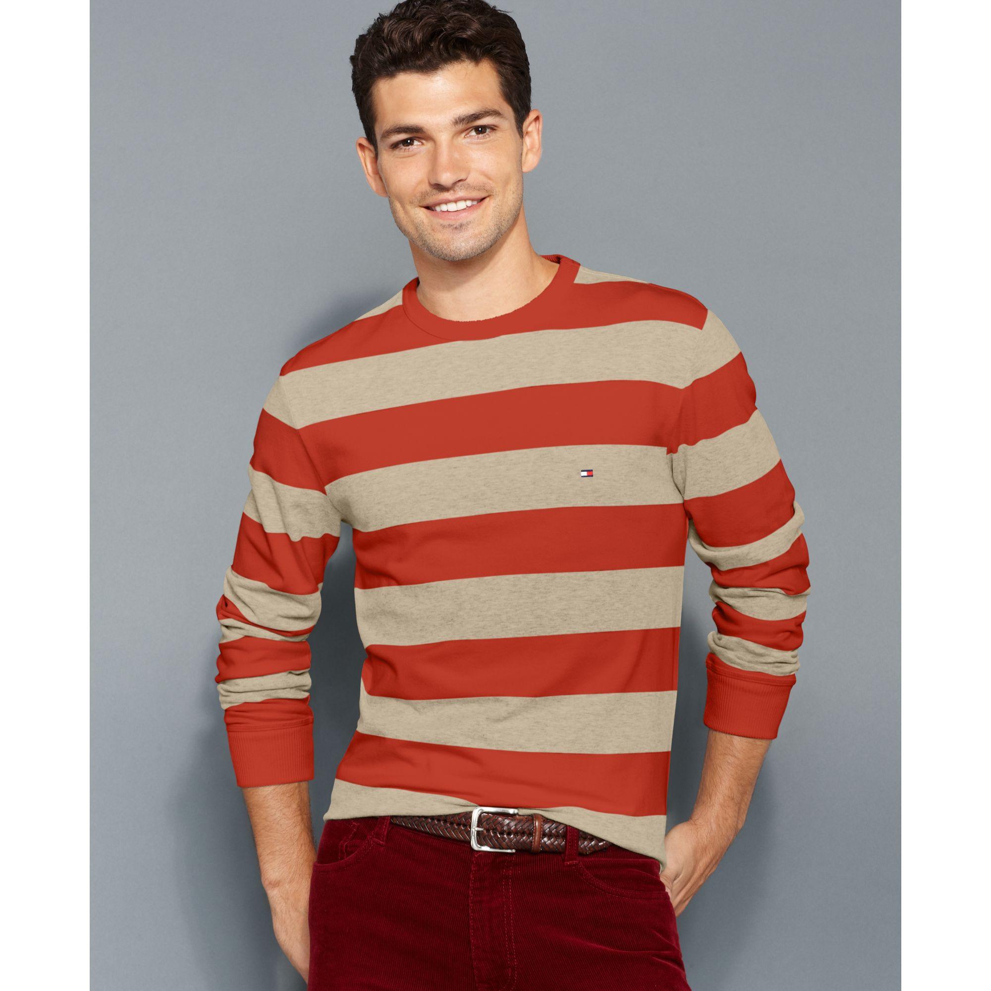 Tommy hilfiger Myrtle Stripe Crew Neck Sweater in White for Men | Lyst