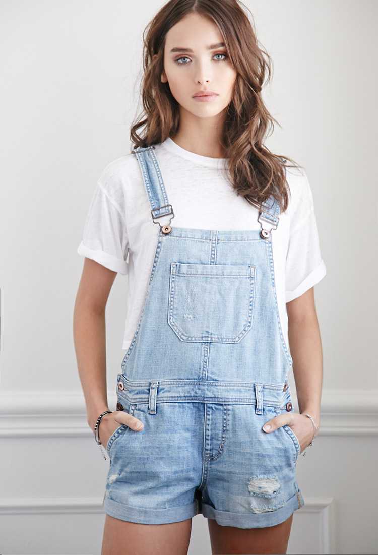 Lyst - Forever 21 Distressed Denim Overall Shorts in Blue 587c766ee9