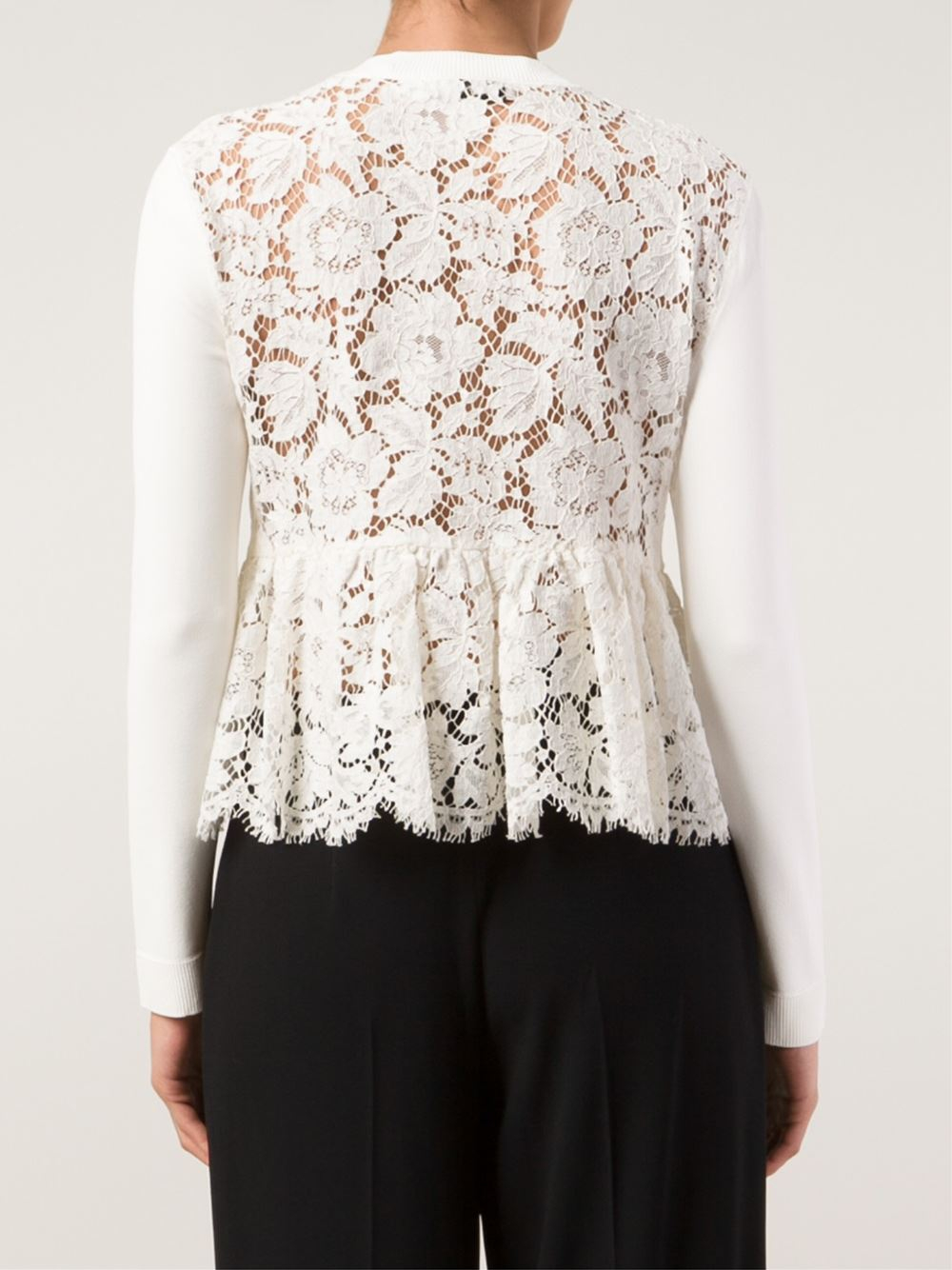 Valentino Lace Back Cardigan in White | Lyst