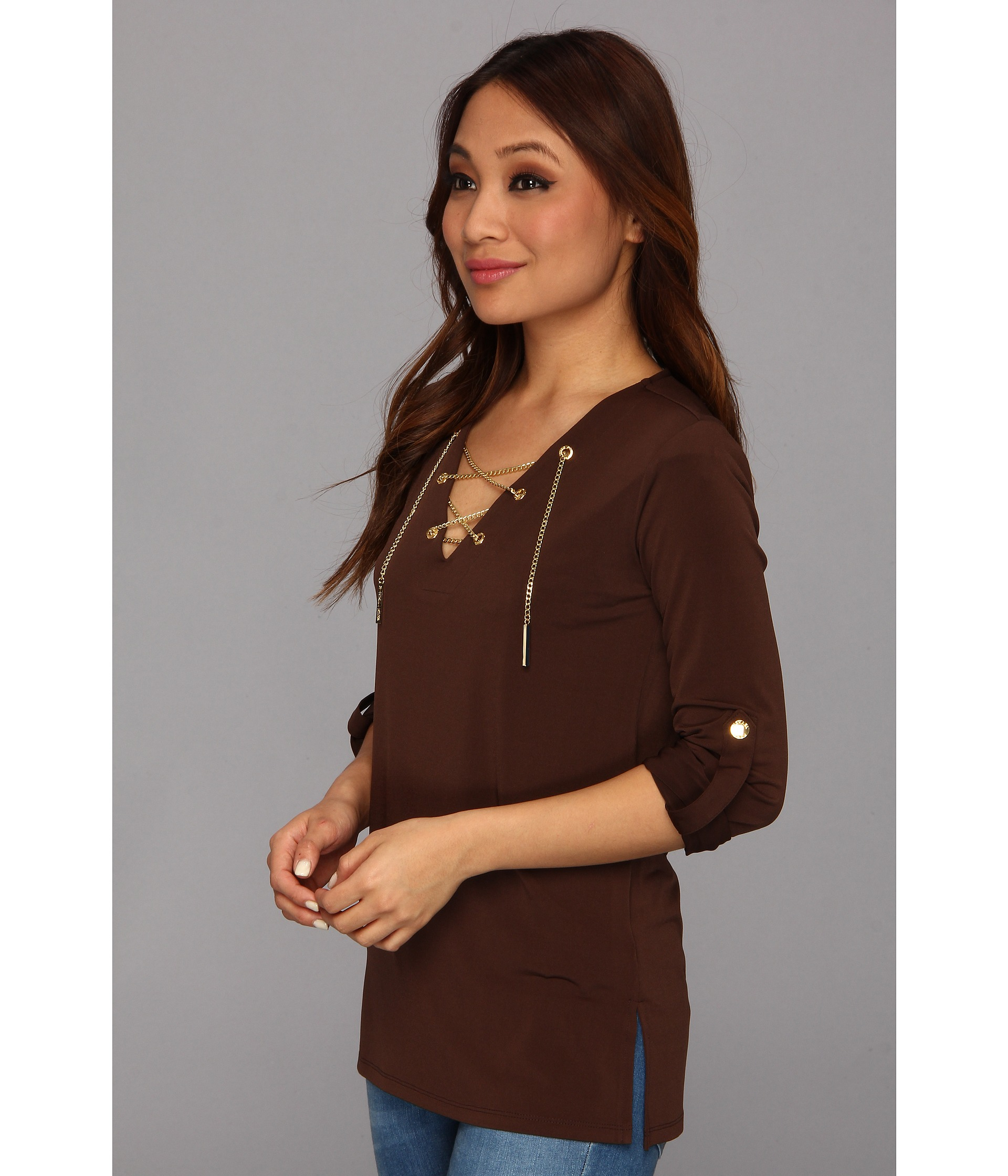 272c69b7010 MICHAEL Michael Kors Matte Jersey Chain Lace Up Tunic in Brown - Lyst