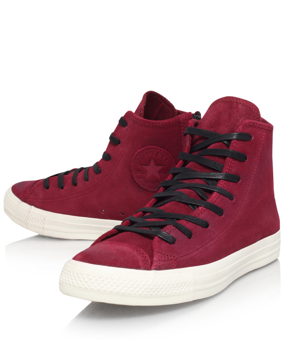 3fd0882fe0cf ... Converse Burgundy Chuck Taylor Burnish Suede Hi-top Trainers in Purple  for Men - Lyst ...