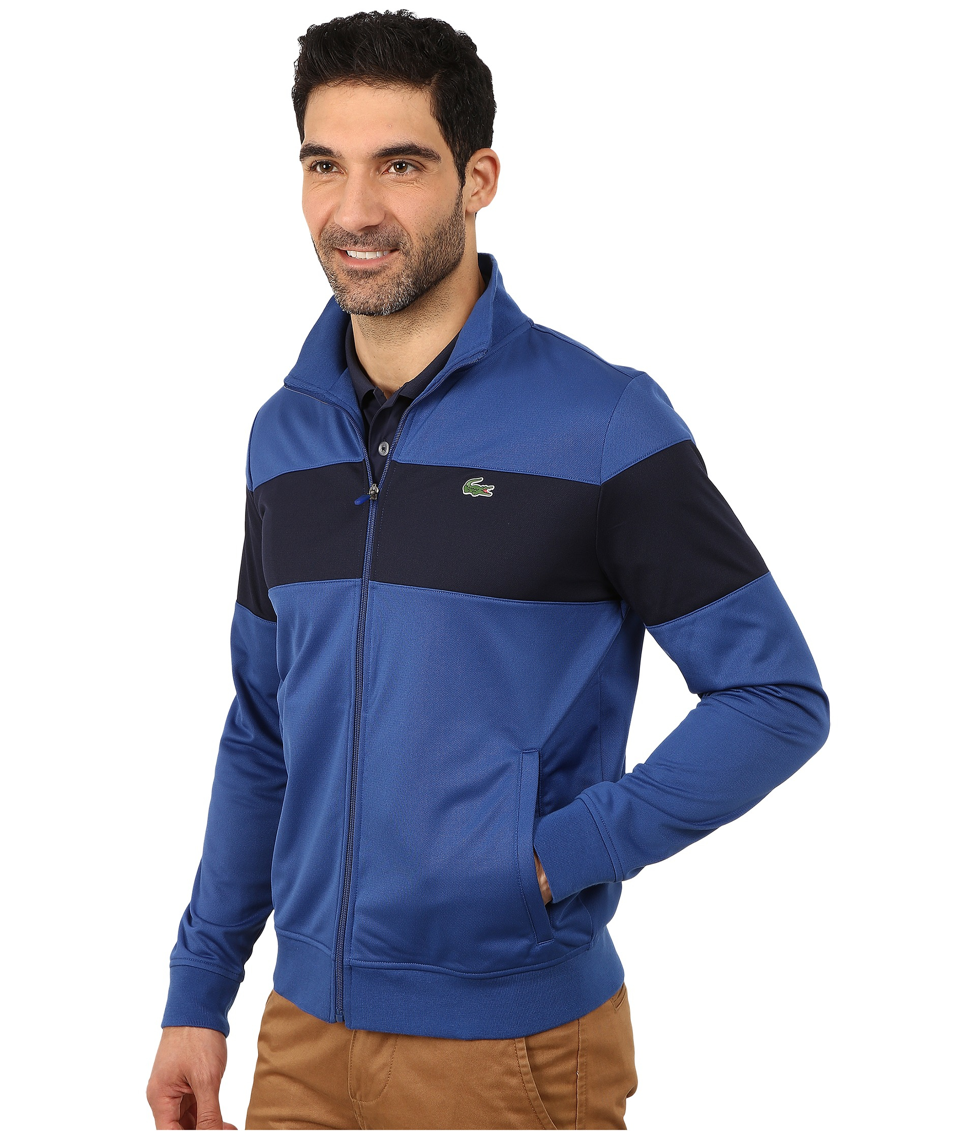 lacoste sport track jacket with bold chest stripe in blue. Black Bedroom Furniture Sets. Home Design Ideas