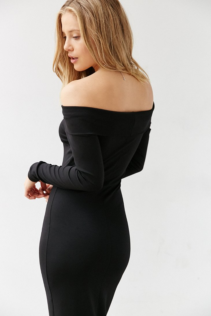 Silence Noise Off The Shoulder Long Sleeve Midi Dress In