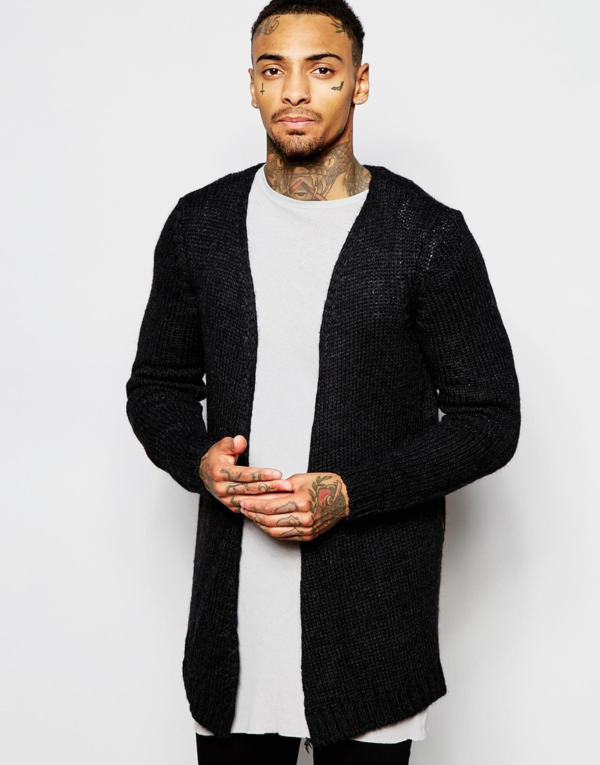 Asos Open Front Cardigan With Side Zips in Gray for Men | Lyst
