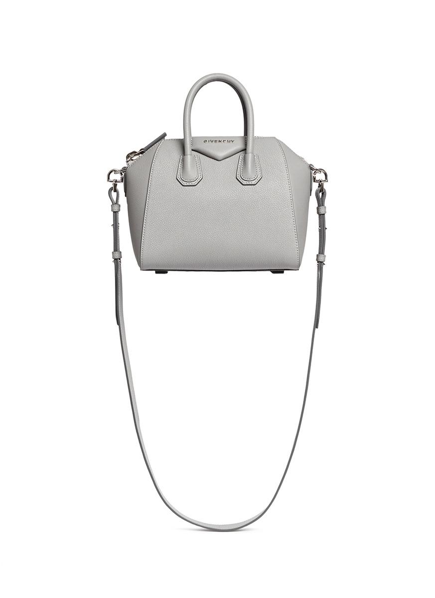 Lyst - Givenchy Antigona Mini Leather Shoulder Bag in Gray 7284bd4f0be68