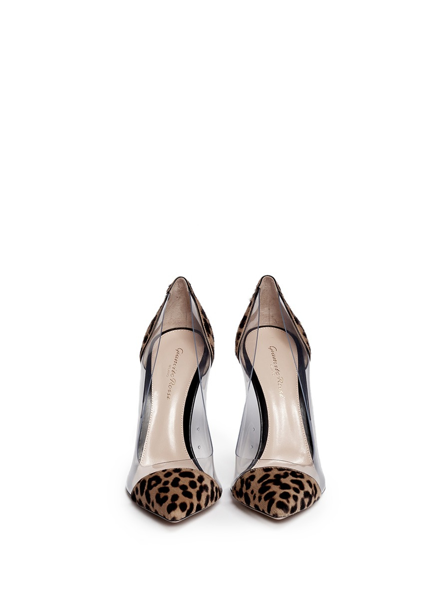 cd905a18f659 Gianvito Rossi Clear Pvc Leopard Pony Hair Pumps - Lyst