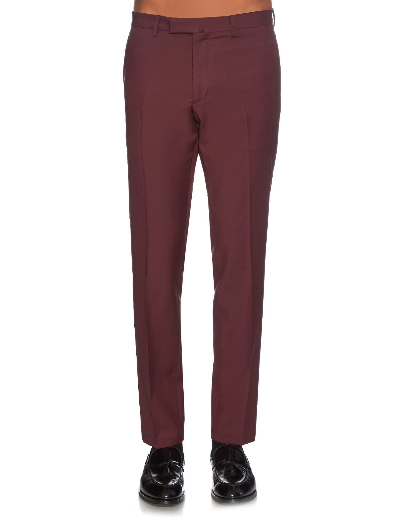 Tapered Wool And Mohair-blend Trousers Valentino Z5U67