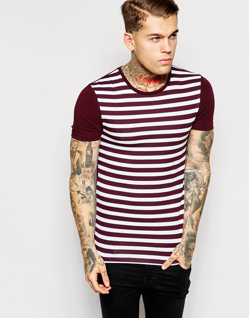 lyst asos extreme muscle t shirt with breton stripe in. Black Bedroom Furniture Sets. Home Design Ideas