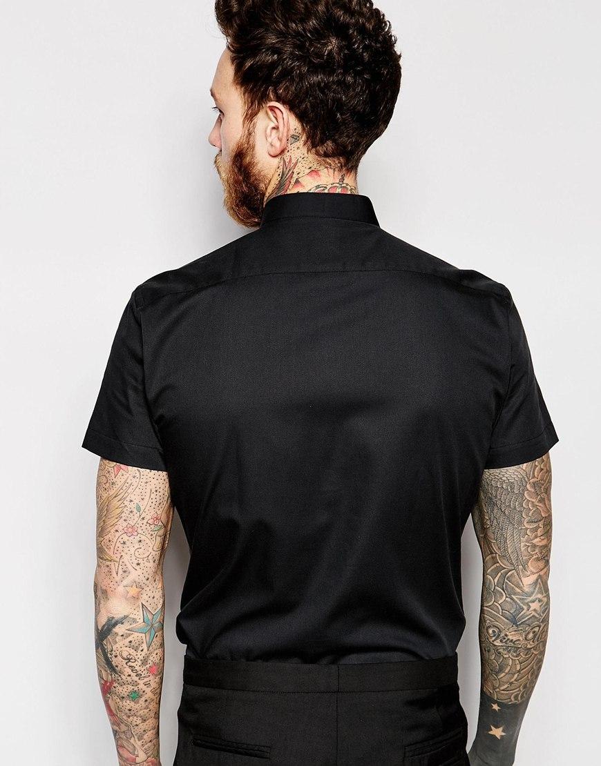 Noose And Monkey Short Sleeve Grandad Shirt In Skinny Fit In Black For Men Lyst