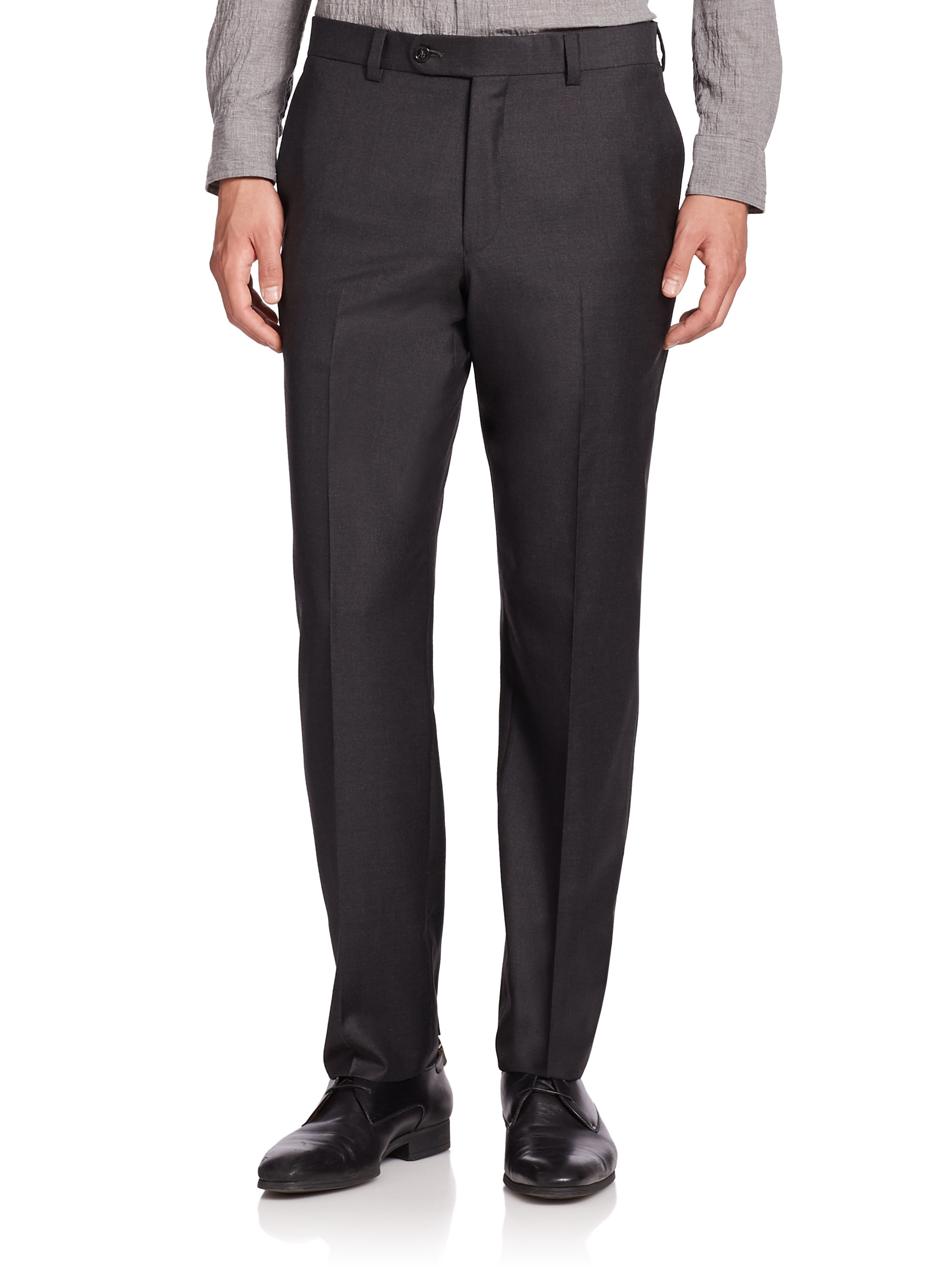 Saks fifth avenue Wool Flat-front Pants in Gray for Men