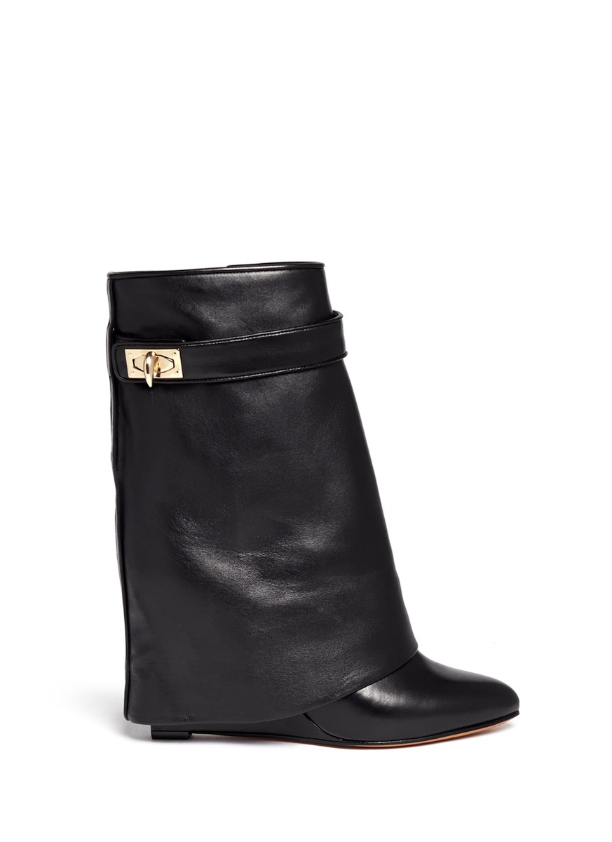 givenchy shark tooth turn lock leather wedge boots in