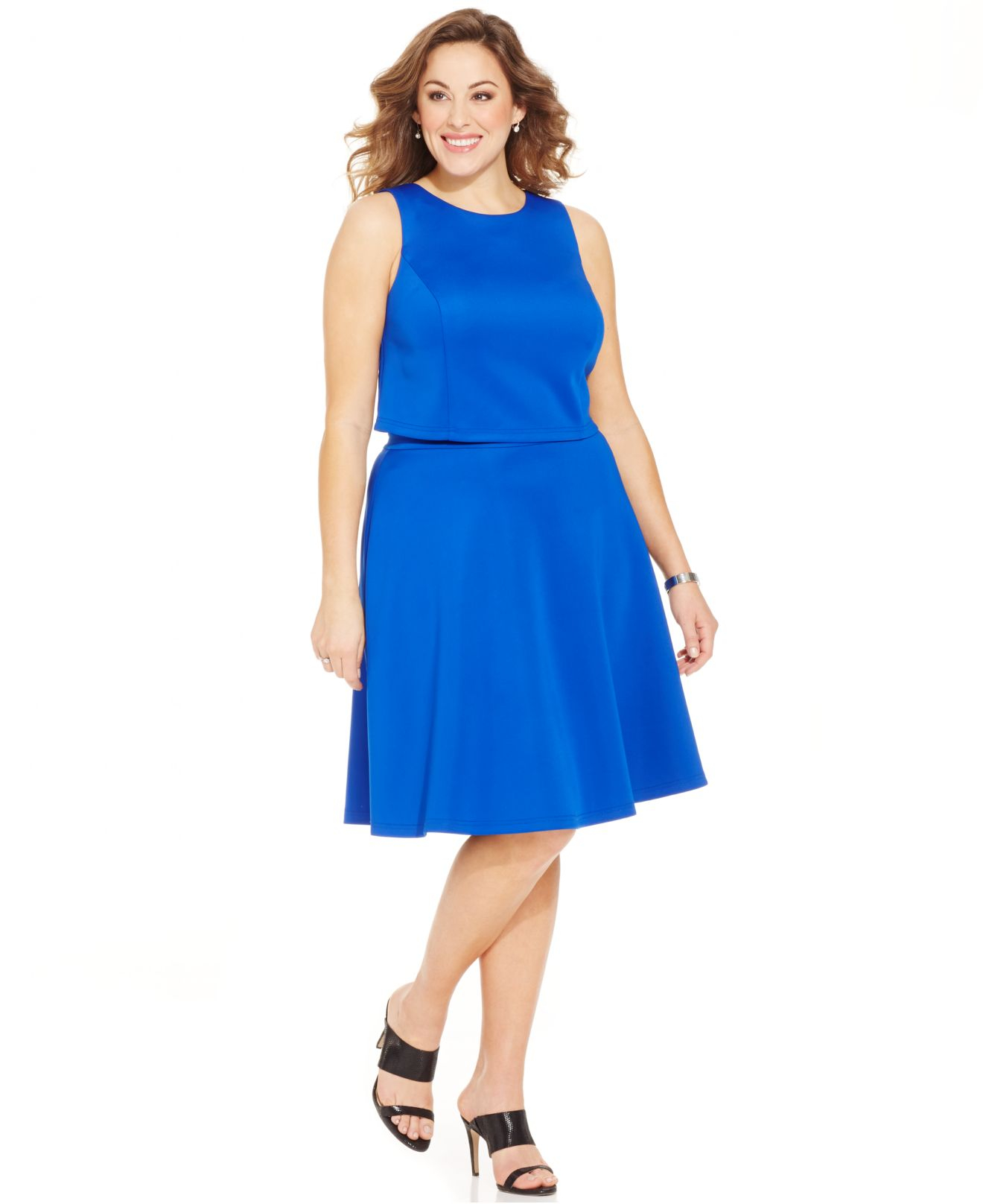 Spense Plus Size Crop Top & A-Line Skirt Match Set in Blue | Lyst