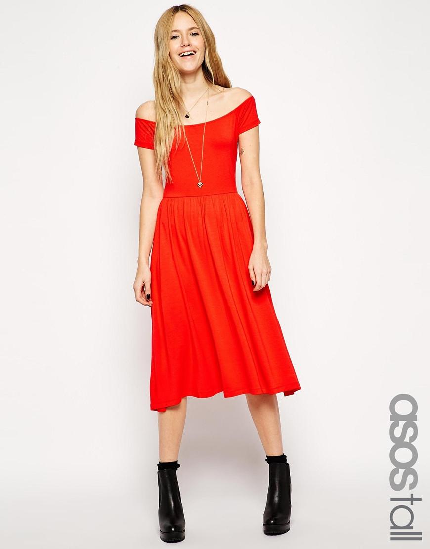 Asos Bardot Midi Skater Dress in Red - Lyst 93ce73b82