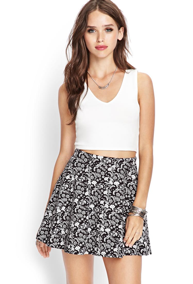 b722e7114 Forever 21 Floral Print Skater Skirt in Black - Lyst
