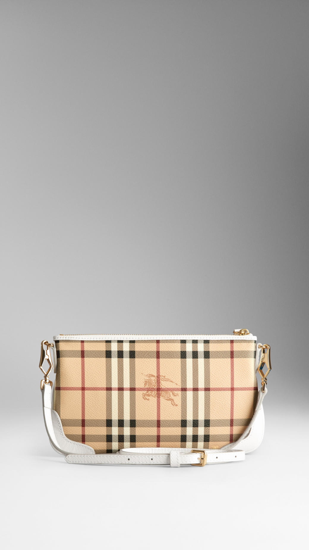 a2c2c5e95a2f Lyst - Burberry Haymarket Check Clutch Bag in White