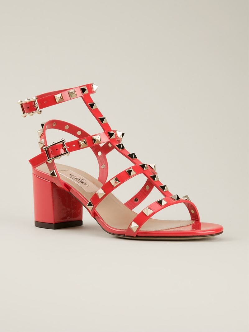 Lyst Valentino Rockstud Sandals In Red