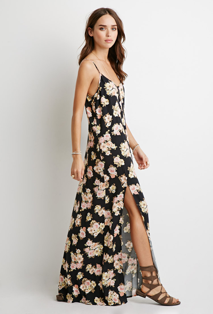 forever 21 floral sideslit maxi dress in black lyst