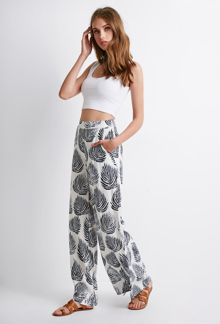 a7ade1062f3 Lyst - Forever 21 Leaf Print Palazzo Pants in Blue