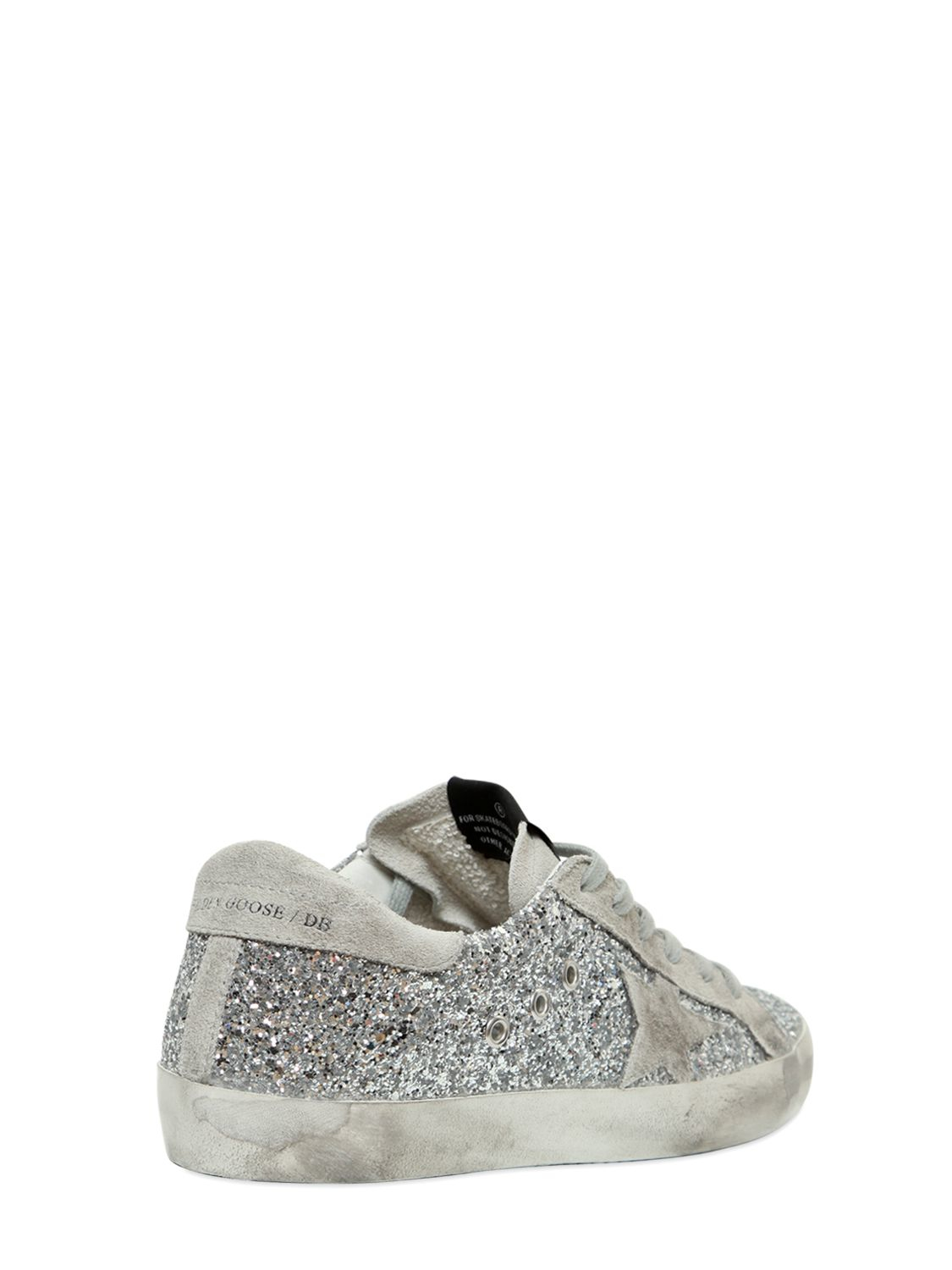 0f82abe2417 Lyst - Golden Goose Deluxe Brand Super Star Glitter   Suede Sneakers ...
