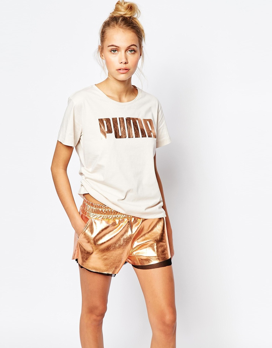 Puma Oversized Boyfriend T-shirt With Rose Gold Logo in Natural | Lyst