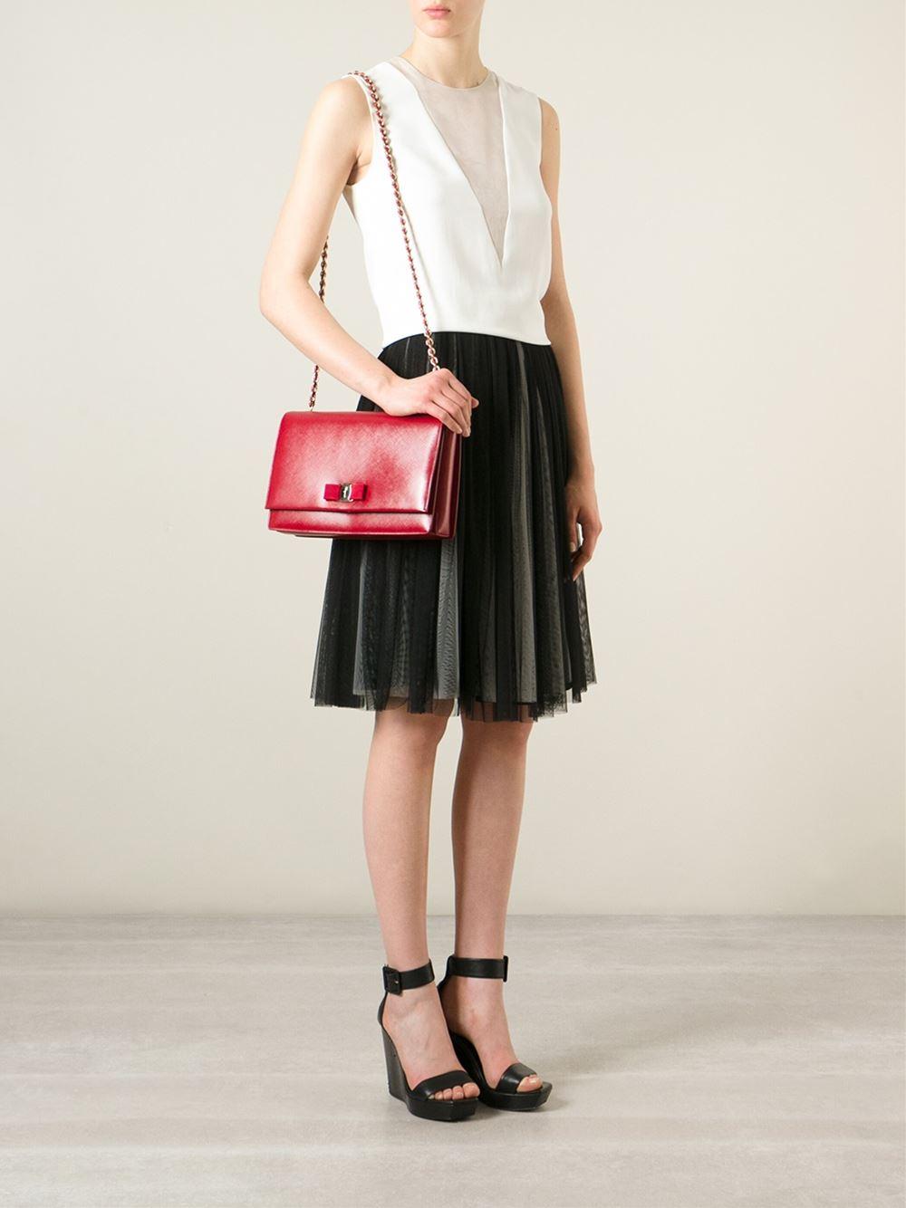 Lyst - Ferragamo Ginny Leather Cross-Body Bag in Red 01c4d466445fb