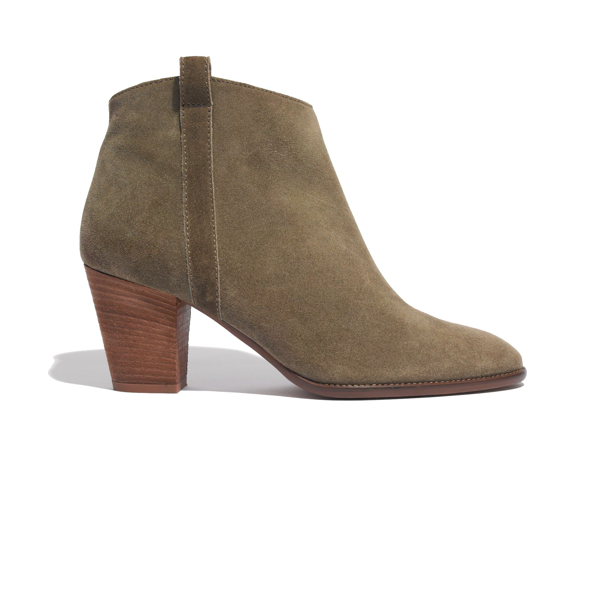 madewell the billie boot in suede in brown golden spinach
