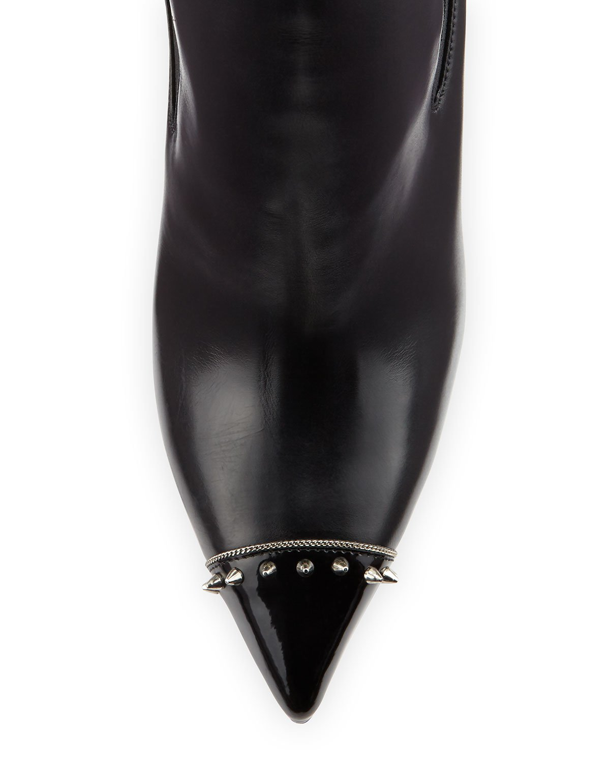 bouton shoes christian louboutin - Christian louboutin Banjo Spiked Leather Boots in Black | Lyst