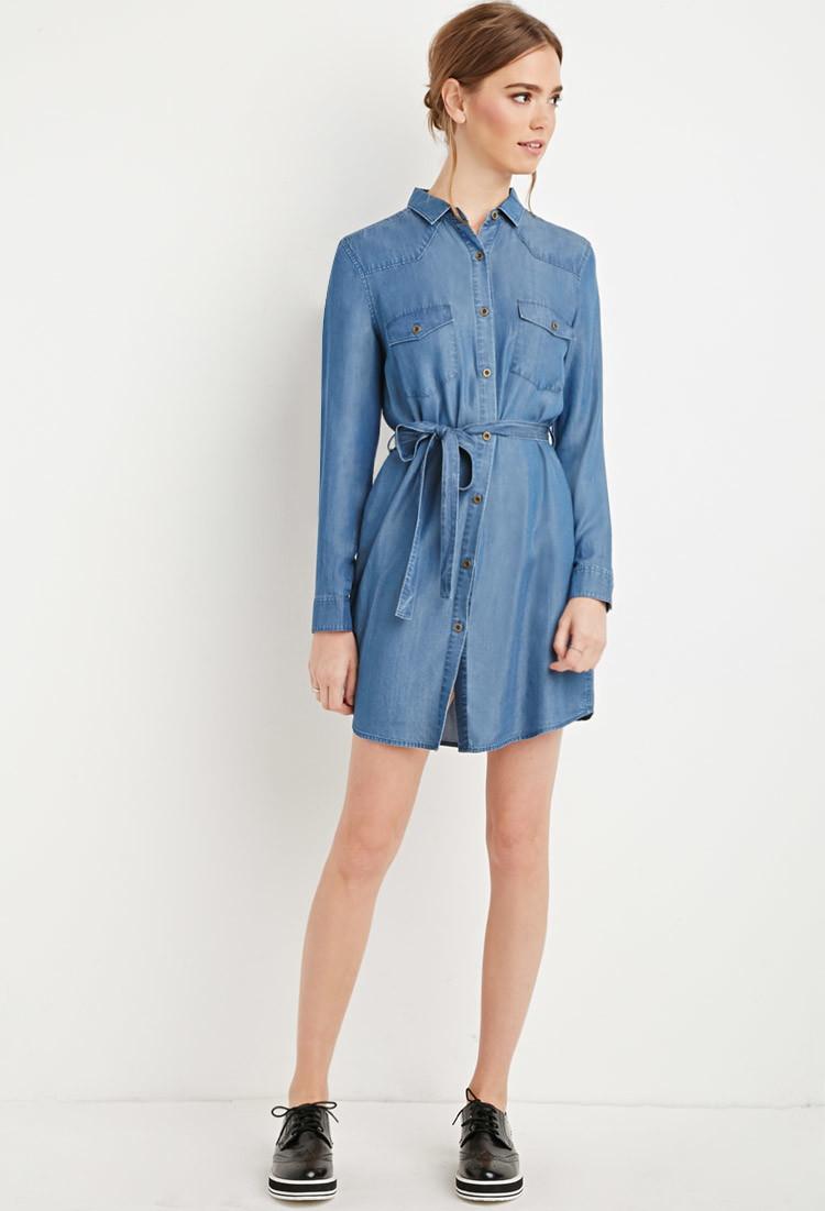 Denim Belted Shirt Dress Dress Images