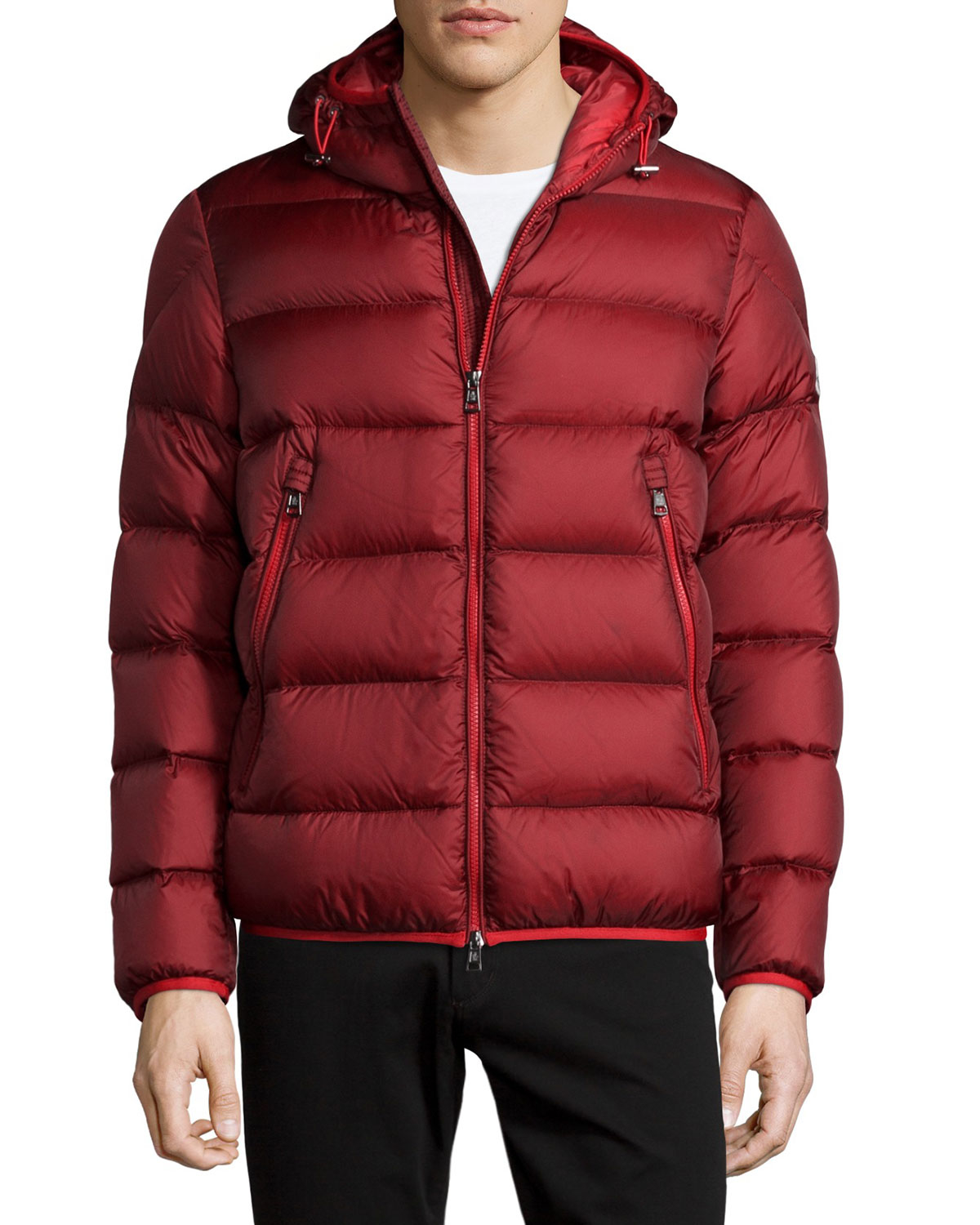 b2f7305d4139 Lyst - Moncler Chauvon Hooded Puffer Jacket in Red for Men