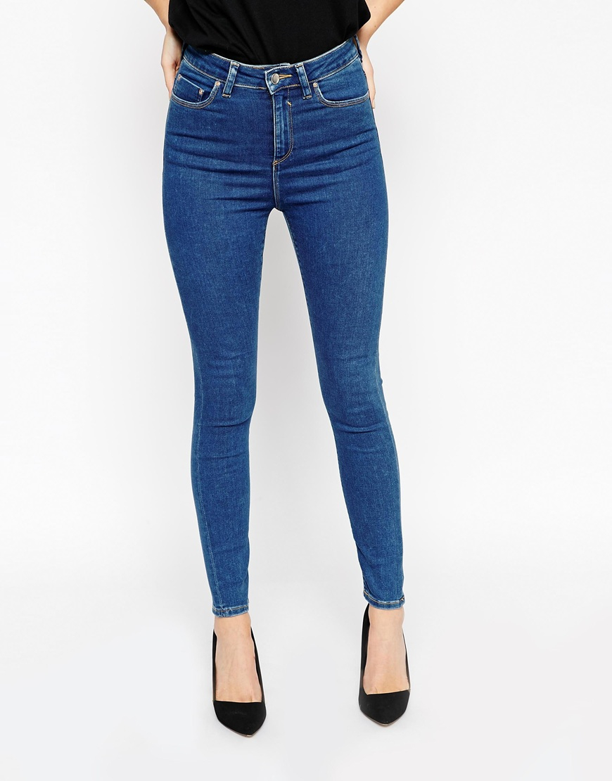 Asos Ridley Skinny Ankle Grazer Jeans In Maxine 70&39s Blue in Blue